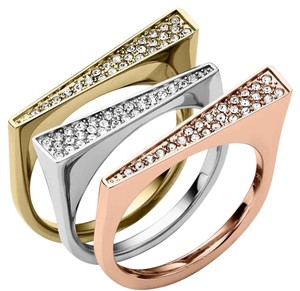 Michael Kors Michael Kors Tri-colored Pave Ring Set