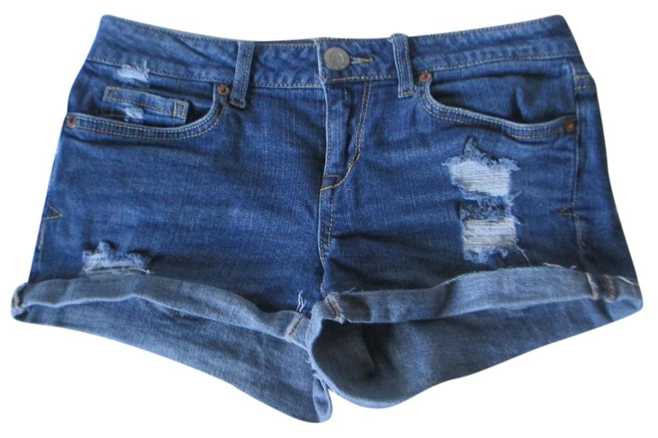 60f394c12a Aéropostale Blue Heavy Distressed/Destroyed Shorts Size 0 (XS, 25 ...