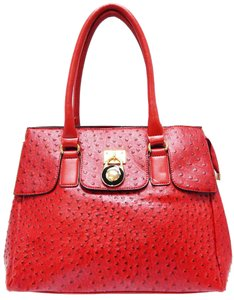Vecceli Italy Faux Leather Satchel Handbag Ostrich Leather Tote in RED