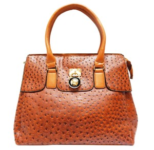 Vecceli Italy Faux Leather Satchel Tote in Light Brown