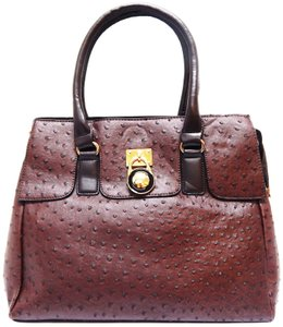 Vecceli Italy Faux Leather Satchel Handbag Ostrich Leather Tote in DarkBrown