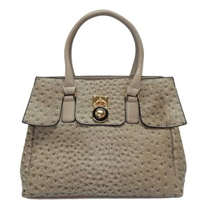 Vecceli Italy Faux Leather Satchel Handbag Ostrich Leather Tote in LightGrey