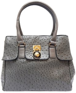 Vecceli Italy Faux Leather Satchel Tote in DarkGrey