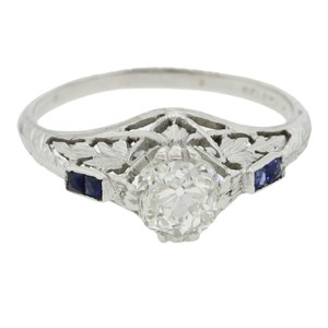 Antique Art Deco 14k Gold 0.87ctw Diamond Sapphire Engagement Ring