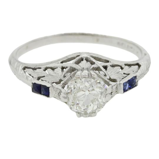 Preload https://item4.tradesy.com/images/white-gold-blue-antique-art-deco-14k-087ctw-diamond-sapphire-engagement-ring-19745288-0-0.jpg?width=440&height=440