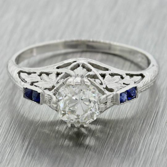 Other Antique Art Deco 14k Gold 0.87ctw Diamond Sapphire Engagement Ring