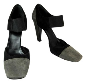 Prada Black Gray Leather Heels Pumps