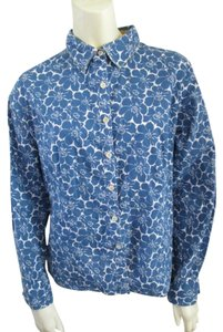 Boden Cotton Casual Longsleeve Floral Comfortable Button Down Shirt Blue
