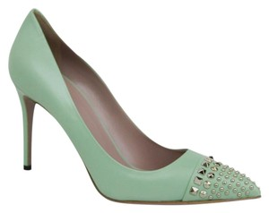 Gucci Leather Studded Light Green Pumps