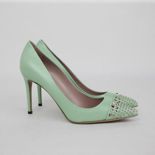 Gucci Leather Studded Light Green Pumps Image 1