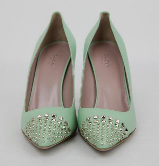 Gucci Leather Studded Light Green Pumps Image 2