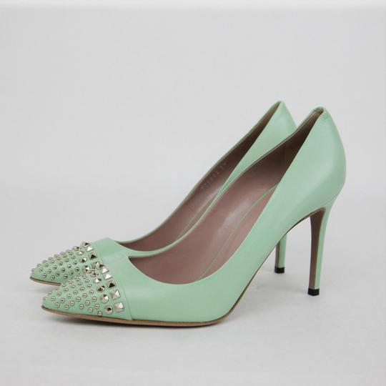 Gucci Leather Studded Light Green Pumps Image 3