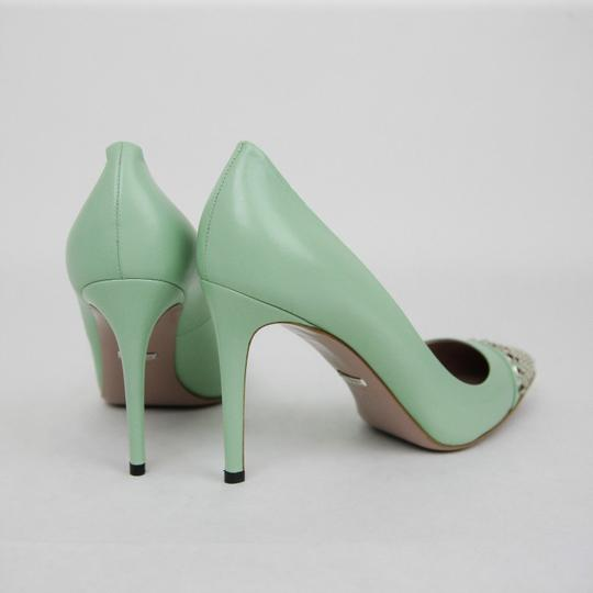 Gucci Leather Studded Light Green Pumps Image 4
