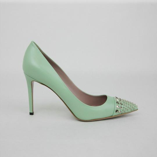 Gucci Leather Studded Light Green Pumps Image 5