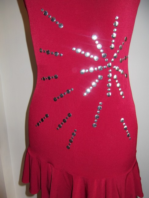 Hot Sauce Style Mini Silver Halter Top Party Dress Image 2