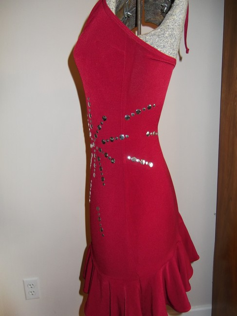 Hot Sauce Style Mini Silver Halter Top Party Dress Image 5