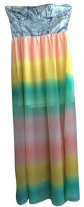 Denim Rainbow Maxi Dress by Mimi Chica