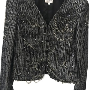 Armani Collezioni Silver Apliques Sensational Trendi Perfect Fall Look Button Down Shirt Black and white
