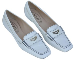 Tod's Pearl White Patent Leather Flats