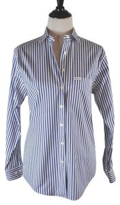 Façonnable Button Up Stripe White And Blue Button Down Shirt Multi-color