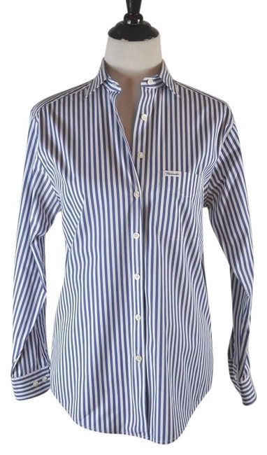 Preload https://img-static.tradesy.com/item/19745409/faconnable-multi-color-white-and-blue-stripe-cotton-button-up-shirt-button-down-top-size-6-s-0-1-650-650.jpg