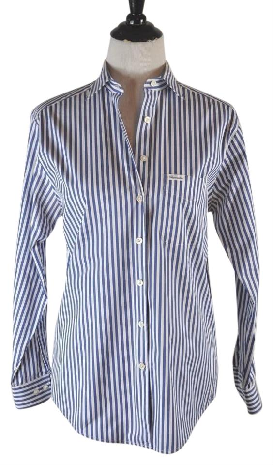 30bbca80 Faonnable Button Up Stripe White And Blue Button Down Shirt Multi-color  Image 0 ...