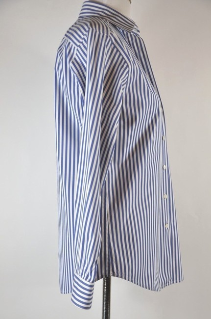 Faonnable Button Up Stripe White And Blue Button Down Shirt Multi-color Image 1