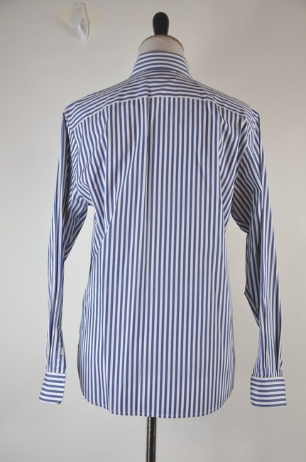 Faonnable Button Up Stripe White And Blue Button Down Shirt Multi-color Image 2