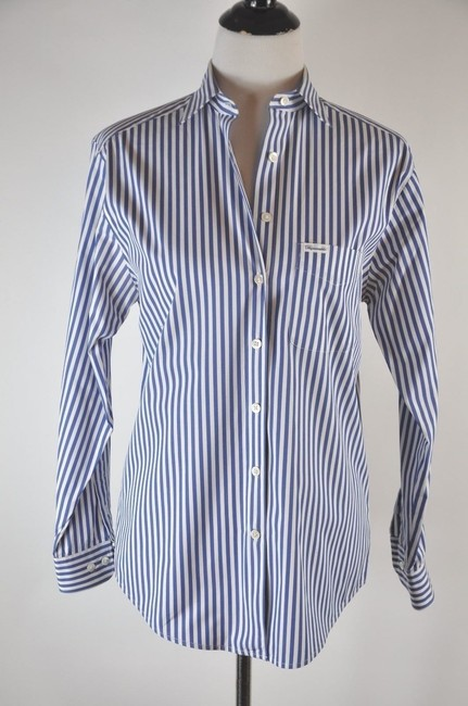 Faonnable Button Up Stripe White And Blue Button Down Shirt Multi-color Image 3