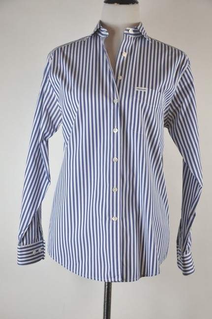 Faonnable Button Up Stripe White And Blue Button Down Shirt Multi-color Image 4
