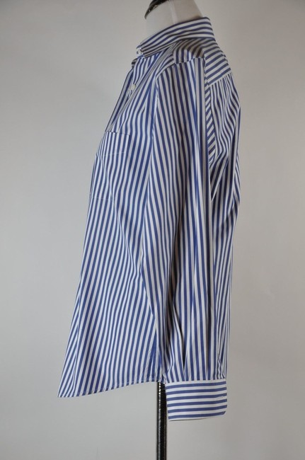 Faonnable Button Up Stripe White And Blue Button Down Shirt Multi-color Image 5