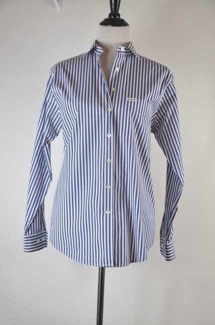 Faonnable Button Up Stripe White And Blue Button Down Shirt Multi-color Image 6