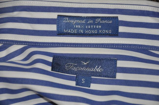 Faonnable Button Up Stripe White And Blue Button Down Shirt Multi-color Image 7