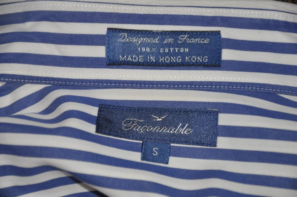 8e80bf93 Faonnable Button Up Stripe White And Blue Button Down Shirt Multi-color  Image 7. 12345678