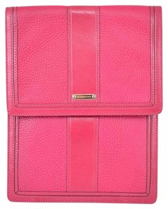 Burberry BURBERRY RHUBARB PINK TEXTURED LEATHER BRIDLE TRIM TABLET SLEEVE CASE