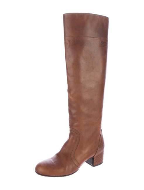 Chanel Brown Tan Leather Boots/Booties Size US 9 Chanel Brown Tan Leather Boots/Booties Size US 9 Image 1