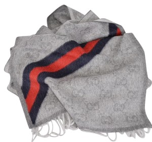 Gucci Gucci 429255 Grey Wool Angora Blue Red Web GG Guccissima Scarf
