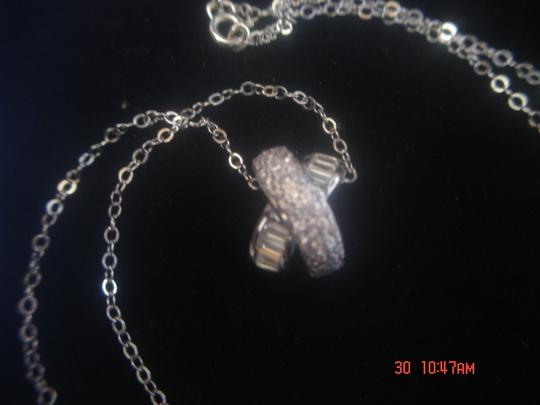"""Unknown STERLING SILVER LOT CLEAR & PINK ZIRCONIA'S X SHAPE DESIGN PENDANT W/ 18"""" CHAIN NEW"""