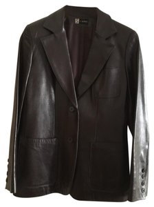 Searle Blazer Classic Neiman Marcus Leather chocolate brown Leather Jacket