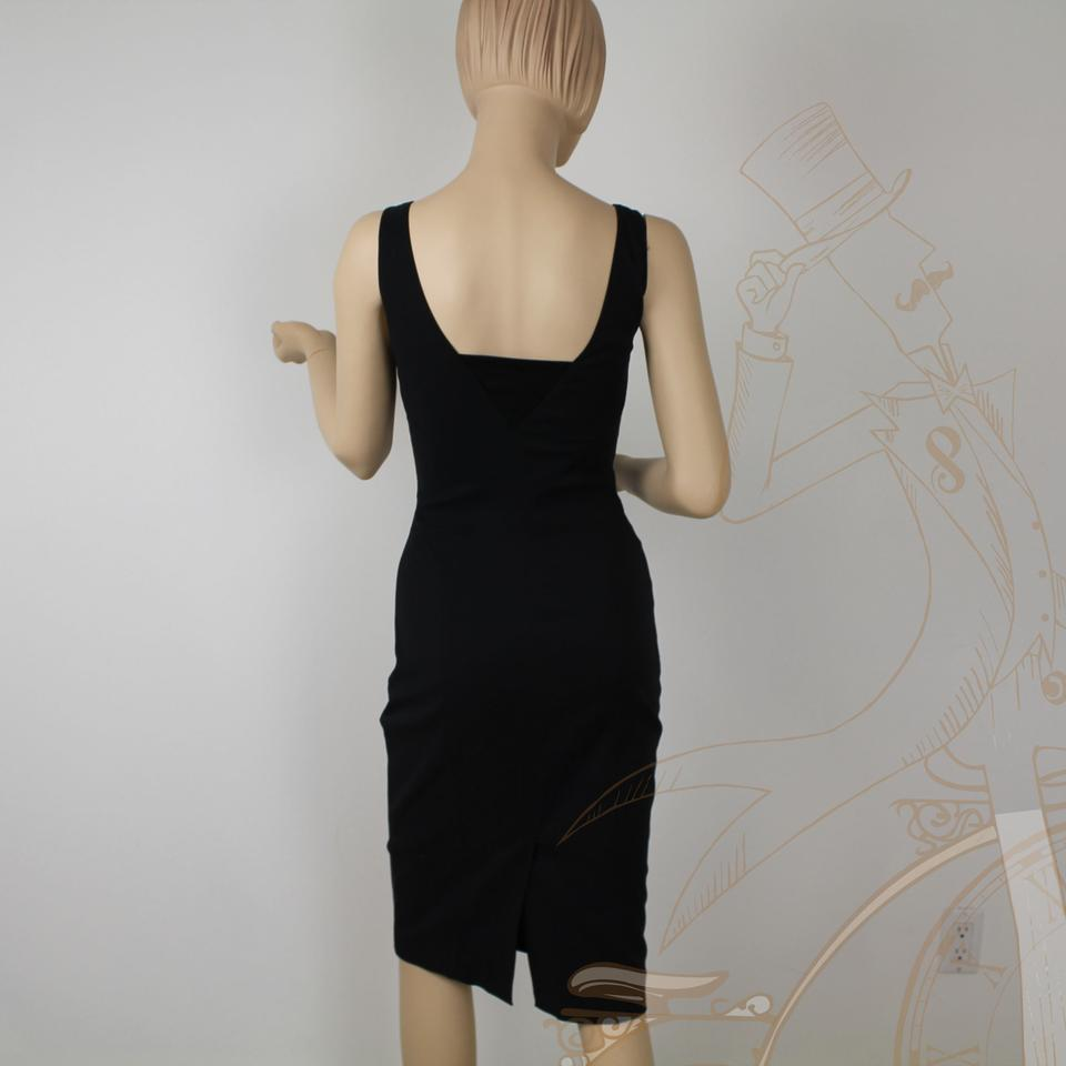 Gucci Black Tie Neck Line Tight Body Con Knee Length Cocktail Dress ...