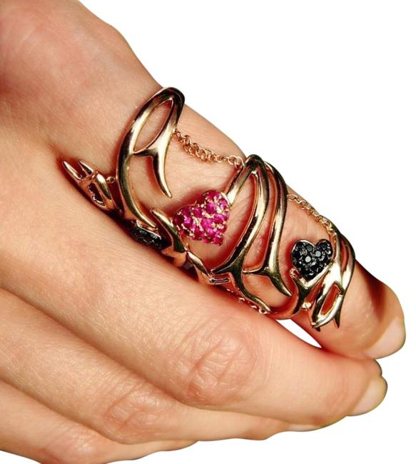 Black Diamonds and Ruby In Pink Silver Hearts & Thorns Ring Black Diamonds and Ruby In Pink Silver Hearts & Thorns Ring Image 1