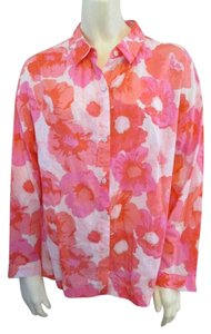 Ann Taylor LOFT Floral Longsleeve Cotton Comfortable Button Down Shirt Pink