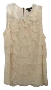 Ann Taylor Office Floral Petals Top Ivory