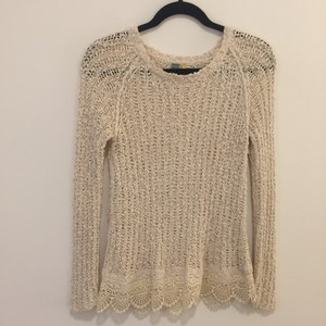Anthropologie Crochet Knit Scalloped Fall Sweater