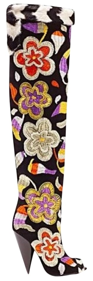54f78f7f50c Tom Ford New 2d Floral Embroidered Over-the-knee Boots Booties Size ...