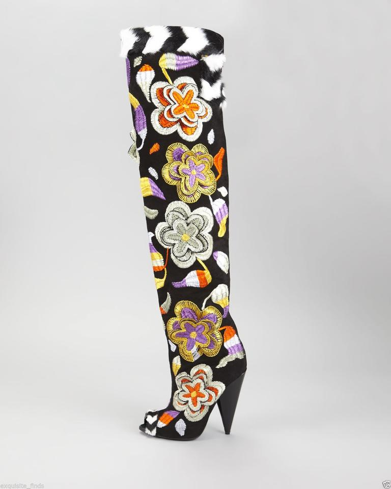 0343b1e3ba6 Tom Ford New 2d Floral Embroidered Over-the-knee Boots Booties Size US 7 -  Tradesy