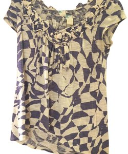 Anthropologie T Shirt Purple and Cream