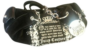 Juicy Couture Royal Couture Line Funky Good Size Heart Mirror Satchel in black