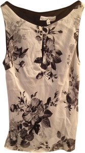 White House | Black Market Sheer Slit Top Black & white floral