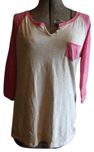Rue 21 Jersey T Shirt Cream and Pink